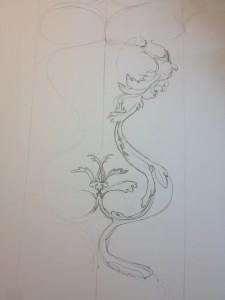 """preparatory sketch for the rug """"Stand"""" artist, Brigita Krasauskaite"""