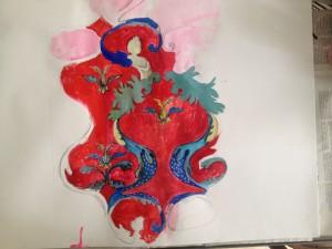 """Preparatory sketch for the rug """"Stand."""" artist Brigita Krasauskaite"""